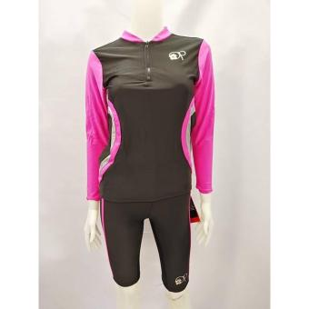 OPJR1602 women fashion pink long sleeves rash guard set with black short cycling swimwear