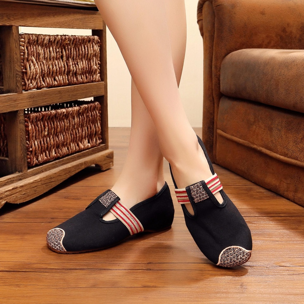 Outdoor Fashion Shoes Platform For Women Girl Ladies Elegant CottonLinen Embroidered Fabric Spring .