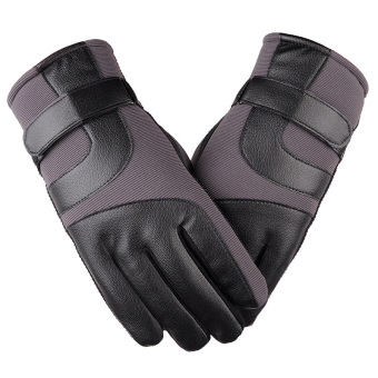 Outdoor Plus velvet men's winter warm gloves leather gloves ([Ordinary models] gray)