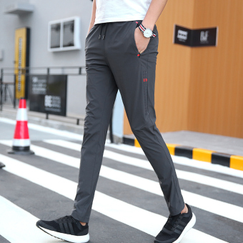 Outdoor Slim fit skinny quick-drying pants athletic pants (K559 dark gray color (Polyester Silk single layer thin))