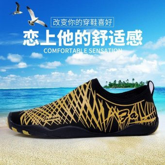 Outdoor yellow Mens Water Shoes Aqua Socks Sports Walking Shoes -intl