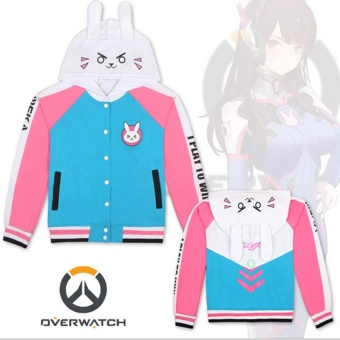 Overwatch Game DVA Cosplay Jacket Coat Baseball Costume HoodieCotton Casual Sweater Girl's Women's Tops S-XXL