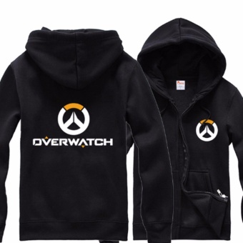 Overwatch Symbol Game Cosplay Coat jacket Casual Sweatshirt HoodieMen's Women's Coat Collection (Black) - intl