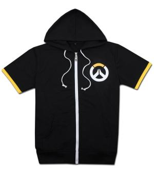 Overwatch Symbol Game Cosplay T-shirt Cotton Tops Casual ShortSleeve Zip Sweater Unisex Shirt (Black) - 2
