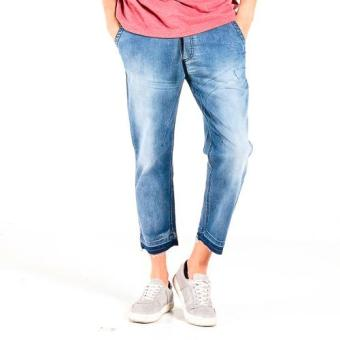 OXYGEN Cropped Jeans with Drawstring (Blue)