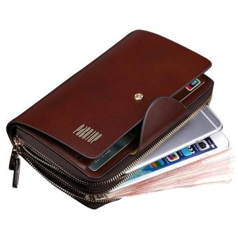 Pabojoe Mens Genuine Leather Purse Double Zipper Clutch Wallet With Large Space For Money,Cards And Phone(Coffee)
