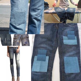 Pair of Light Blue Iron on Denim Patches Elbow Knee Price Philippines