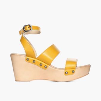 Parisian Ladies Yani Wedge Sandals (Mustard)