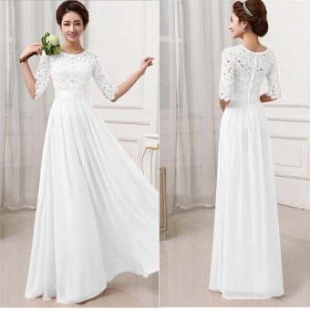 Party Dresses For Women Long Dress Lace Chiffon Patchwork MaxiDress (Color:c0) - intl