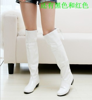 Patent leather white show long-barreled boots KNIGHT boots (White) Price Philippines