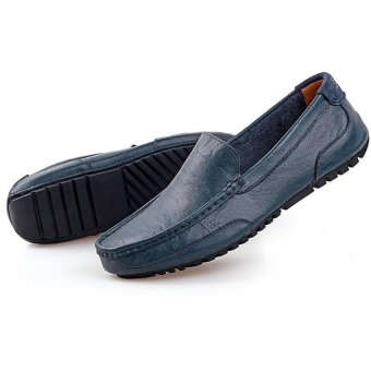 PATHFINDER Men Driving Leather Loafers Shoes Slip Ons (Blue) - 4