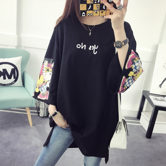 Pattern Korean-style female long paragraph long-sleeved Top T-shirt (Black)