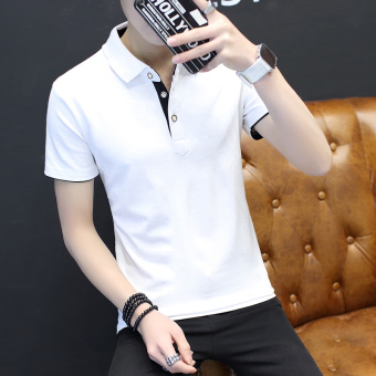 Paul short sleeved men T-shirt polo shirt (White black collar)
