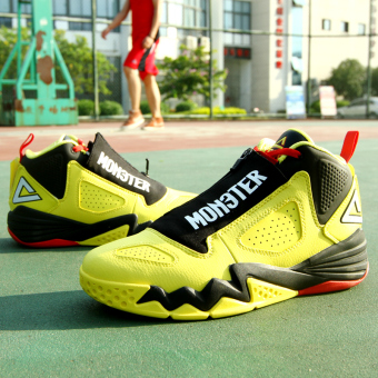 Peak leather autumn official genuine men's shoes basketball shoes (Shine yellow/Black)