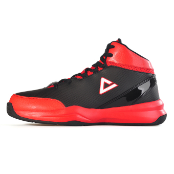 Peak men autumn and winter New style breathable sports shoes basketball shoes (Black/red)