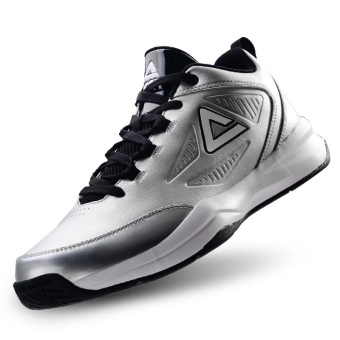 Peak men official New style men's boots basketball shoes (Silver)