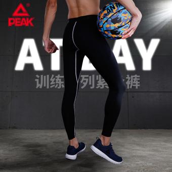 Peak running pants Short sleeved men's sportswear basketball clothes (Black/light gray)