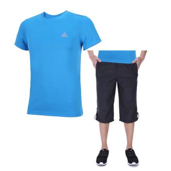 Peak sports men's short sleeve shorts pants breathable sportswear (Liang Lan (clothing)/Black (Capri pants/DF372011))