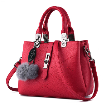 PECARSINE European and American embossed leather buckle shoulder women's bag New style women's bag (Wine red color)