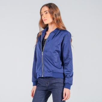 Penshoppe Bomber Jacket With Embroidery (Blue) - 2