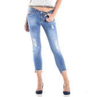 PENSHOPPE Cropped Skinny Fit Jeans with Frayed Hem (Blue)