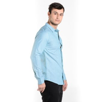Penshoppe Long Sleeves Shirt With Buttoned Collar (Green) - 3