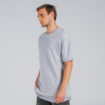 Penshoppe Oversized Tee With Cut & Sew Panel (Gray) - 2