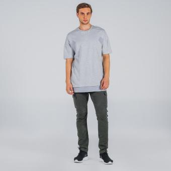 Penshoppe Oversized Tee With Cut & Sew Panel (Gray)