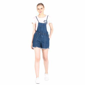Penshoppe Regular Fit Jumper Shorts With Frayed Hem (Blue) - 4