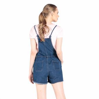 Penshoppe Regular Fit Jumper Shorts With Frayed Hem (Blue) - 3