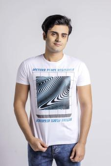 Penshoppe Relaxed Fit Tee With Print & Embroidery (White)
