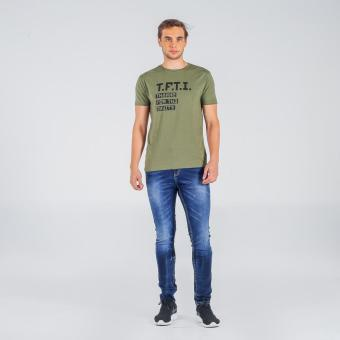 Penshoppe Semi Fit Tee With Graphic Print (Olive)