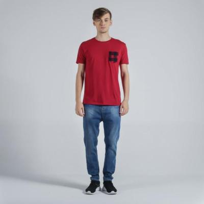 Penshoppe Semi Fit Tee With Pocket Detail (Dark Red)