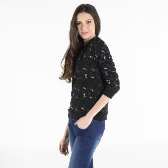 PENSHOPPE Women's Printed Pullover (Black) - 2