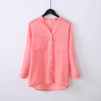 Pfpa Women's Linen Long Sleeve Shirt Color Varies (Pink)