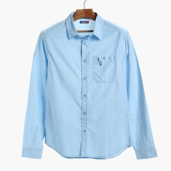 PH Basic By Kultura Mens Chambray Casual Shirt (Light Blue)