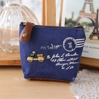 PH_STORE Ladies Canvas Coin Purse Wallet Pouch (Blue With MotorDetails)