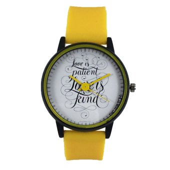 PIC Watch Love is Patient Unisex Yellow Silicone Strap Watch