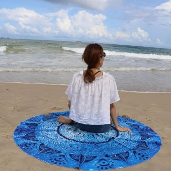 Pilot BT-002 Fun Summer Holidays Thick and Soft 200g MicrofiberReactive Printed Round Beach Towel With Tassel Serviette PrintedYoga Mat Picnic Blanket Beach Swim Towel Shawl 145cm(Royal BlueGeometric)
