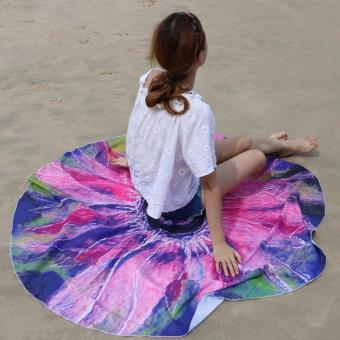 Pilot BT-002 Fun Summer Holidays Thick and Soft 200g MicrofiberReactive Printed Round Beach Towel With Tassel Serviette PrintedYoga Mat Picnic Blanket Beach Swim Towel Shawl 145cm(WonderfulSunflower)