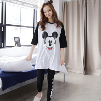 Pink Korean women's long-sleeved cotton tracksuit pajamas (Black and white Mickey)