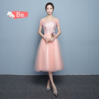 Pink mid-length New style winter sisters dress bridesmaid dress (816 medium-length Jade powder B Section)