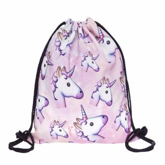 Pink unicorn small Backpack women 3D printing travel softback menmochila drawstring bag School girls backpacks - intl Price Philippines