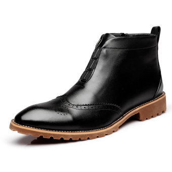 PINSV Genuine Leather Men Casual Boots Classic Boots (Black)