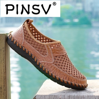 PINSV Leather Men Breathable Fashion Driving Shoes Slip-On Loafers Brown - intl - 4