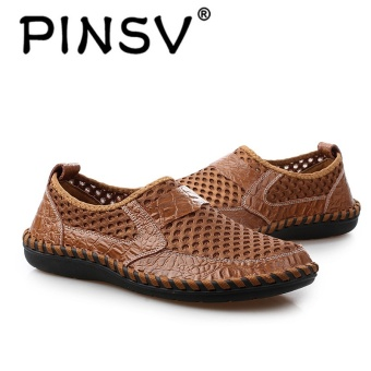PINSV Leather Men Breathable Fashion Driving Shoes Slip-On Loafers Brown - intl - 3