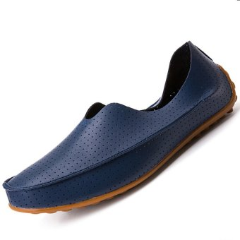 PINSV Leather Men's Flats Shoes Breathable Casual Loafers Slip-On (Navy) - Intl
