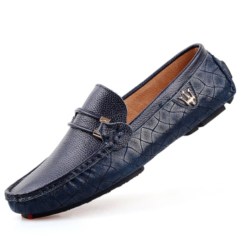 PINSV Leather Mens Flats Shoes Casual Loafers (Blue)