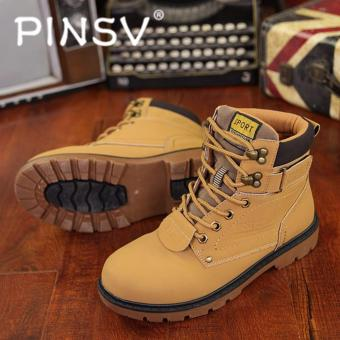 PINSV Men Boots Fashion Martin Boots Outdoor Casual Cheap Timber Boots(Khaki)