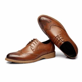 PINSV Men Dress Shoes Genuine Leather Black Italian Fashion Business Oxford Shoes(Brown) - 2